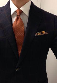 Orange. MEN'S SUIT Isaia for Saks windowpane SC Borrelli shirt Cesare Attolini untipped tie  Bergdorf Goodman paisley OS Creed Neroli Sauvage