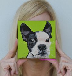 Why not get a #Custom #Pet #Portrait of your #dog #Boston #terrier by PopArtPetPortraits