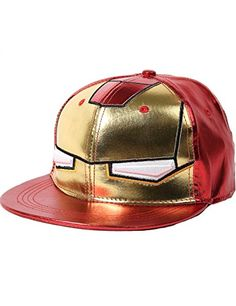 SSLR Men s Cartoon Iron Man Flat Bill Caps (One Size 60384c27de61