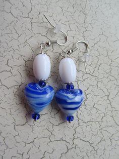 Blue Heart Earrings, Valentine Earrings, Blue Earrings, Valentine Jewelry, Heart Earrings, White Earrings, Valentine Gifts,Mothers Day Gifts by BrownBeaverBeadery on Etsy