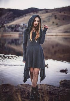 Wonderland Hooded Pixie Dress ~ Cowl Hood version ~ long sleeves and thumbholes ~ Elven Forest ~ Winter Dress Fit And Flare, Pixie, Colorado, Winter Dresses, Lady, Dress Making, Ideias Fashion, Cool Outfits, Beautiful