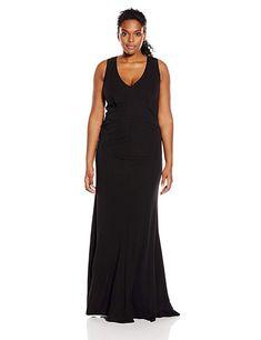 d179b911f92 ABS by Allen Schwartz Women s Plus-Size Sleeveless Jersey V-Neck Gown