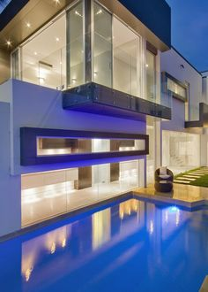 *modern architecture, outdoor lighting, pools* - Kangaroo Point House-DMJ Design Studio