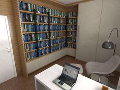 Escritório com Biblioteca. Projeto: Escritório de Arquitetura Servino e Assed Renderização: Estúdioi - Desenhos em 3D e Renderização de Imagens para Arquitetura