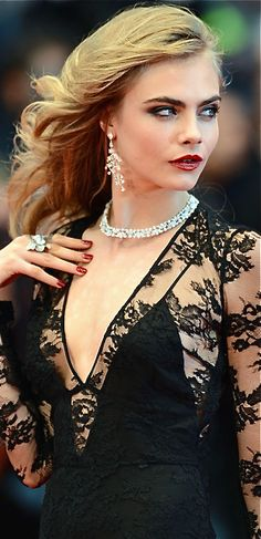 Cara Delevingne in Black Burberry Gown