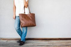 40 OFF  Brown Leather Tote bag  everyday brown by AssemblageUnique, $210.00