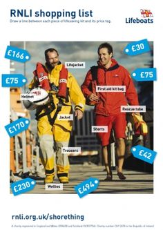ROYAL NATIONAL LIFEBOAT INSTITUTION Activity sheet: Crew and Lifeguard Kit Cost  5-14 years - Maths. Match the cost in pounds to the crew and lifeguard kit.