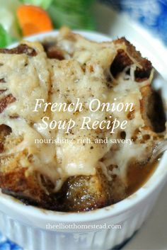 This nourishing, rich, savory French Onion Soup recipe is always a perfect addition to our meals when the weather is wet or cold. Gourmet Recipes, Real Food Recipes, Cooking Recipes, Yummy Food, Healthy Recipes, Easy Recipes, Onion Soup Recipes, Onion Soups, French Onion
