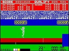 Daley Thompson's Decathlon ZX Spectrum screenshot. Interesting that Daley Thompson was depicted as a white sprite in the Speccy version,
