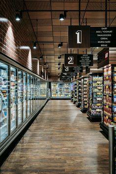 Romeo's summer hill loopcreative loja store, retail store design, supermark Mini Mercado, Store Signage, Pharmacy Design, Store Layout, Retail Store Design, Retail Stores, Lokal, Liquor Store, Shop Interiors