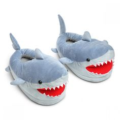 For Mom: Make every week Shark week with these ferocious and cute Shark Plush Slippers. They are great for sharking around the house. One size fits lots of adults. You are sure to hear the Jaws music with every step. Small cats and dogs will Shark Slippers, Cute Slippers, Ladies Slippers, Crocheted Slippers, Felted Slippers, Best White Elephant Gifts, Shark Plush, Shark Gifts, Teen Swag