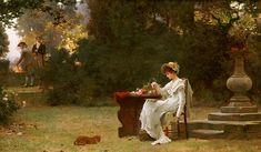 """""""Love at First Sight"""" von Marcus Stone (geboren am 4. Juli 1840 in London, gestorben am 24. März 1921 ebenda), englischer Maler und Illustrator."""