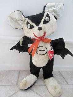 1950s halloween stuffed animal BAT with original by katehartxoxo, $52.00