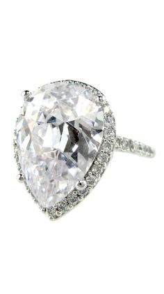 Silver Clear Pear-Shaped Ring