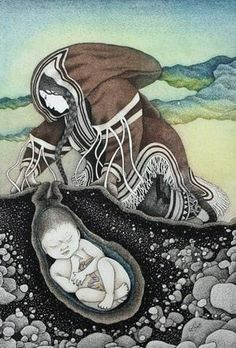 """Mother Earth"" by Inuit artist, Germaine Arnaktauyok  http://inuitarteskimoart.com/index.php?cPath=89"