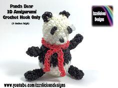 Rainbow Loom 3D Panda Bear Amigurumi/Loomigurumi Figure/Doll/Toy - Hook Only Loomless (Loom-less) tutorial by Izzalicious Designs.