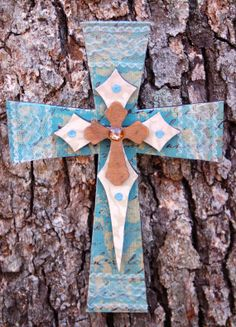 Turquoise Wall Cross with Obelisk and Mini Cross by TheVelvetRobyn, $17.00