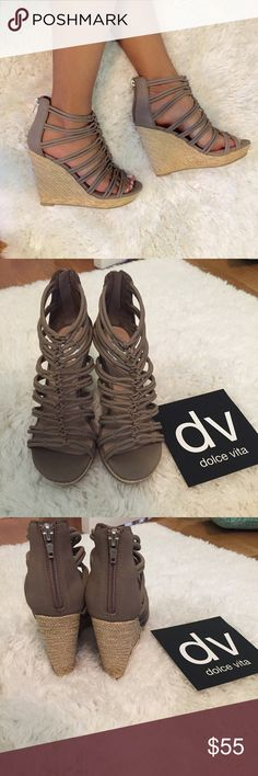 DV Taupe Nubuck Stella Wedges Brand new with box and original packaging. Beautiful wedges that have a great neutral taupe color that goes great with any summer outfit. Has a leather material. Fits true to size. Open to fair offers made through the offer button only. DV by Dolce Vita Shoes Wedges