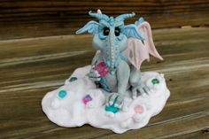 Ice Dragon Polymer Clay Sculpture by mirandascritters on Etsy, $80.00