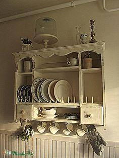 Wooden Shelving Units, Wood Shelves, Dream Furniture, Home Furniture, Farmhouse Kitchen Decor, Country Kitchen, Repurposed Furniture, Pallet Furniture, Hang Plates On Wall