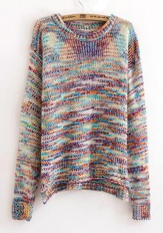 Multicolor Colorful Asymmetric Shoulder Cotton Blend Sweater