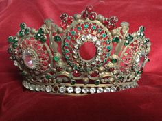 SOLD, do not purchase 19th century, antique french crown, or moulu religious paste stones rhinestone, Huge