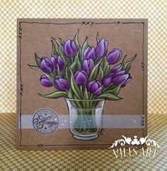 Hello Everyone! I made today's card, using More Tulips from Mo's Digital Pencil. Mo Manning, All Things Purple, Dream Team, Mothers Love, Hello Everyone, Color Combos, Tulips, Watercolor, My Favorite Things