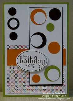 Yellowbear Stampin: Masculine Card | circles Use Polka dot background paper