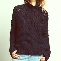 NWT Free People // Long Summer Pullover NWT Free People Long Summer turtleneck pullover in navy blue. Super soft cotton yarn in a thick, open knit. Oversized fit. No imperfections. trades Free People Sweaters Cowl & Turtlenecks