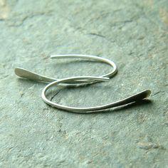 Simple Silver Earrings, Small Wishbone Earrings Silver Hoops, Simplicity minimalist delicate jewelry