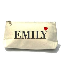 Black Uppercase Heart Bella Personalized Cosmetic Bag