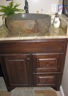Custom Bathroom Vanity w/ stone vessel sink