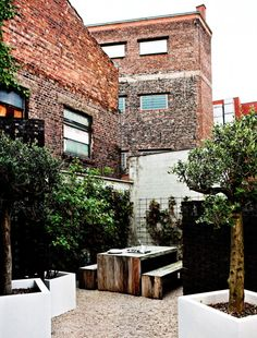 Simple city garden with great texture: white modern containers, recycled wooden table and benches, gravel underfoot, and brick. Pretty cool.