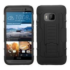 MYBAT HTC One M9 Case Rugged iRobot Armor - Black/Black