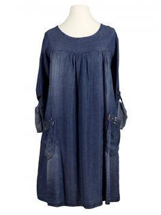 Damen Tunika Kleid Jeans Look, blau von Carla Giannini bei www.meinkleidchen.de