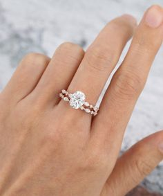 Oval Moissanite engagement ring set rose gold Vintage engagement ring for women Half eternity Marqusie cut wedding Bridal Promise gift Timeless Engagement Ring, Engagement Ring On Hand, Yellow Engagement Rings, Engagement Ring Shapes, Engagement Ring Settings, Vintage Engagement Rings, Side Stone Engagement Rings, Teardrop Engagement Rings, Moissanite Engagement Rings
