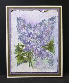 It is the 8th Anniversary of the WT Challenge and Linda asked us to do a card with a purple palette and use one or more of the following:  Flower-lilac Gemstone-Tanzanite(light purple or blue color stone) Traditional gifts-bronze or pottery Modern gifts_ linen or lace  I chose to use the lilac flowers and use a traditional watercolor technique for them.  TFL