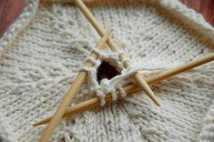 How to knit a hexagon. I can see the colorful afghan this would make with scrap yarn, but knowing me, I would get bored with making the hexagons and give up before I had enough.   ~d~