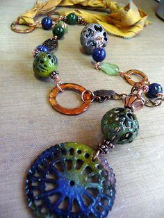 Dana's Jewelry Design - 1st reveal -  Enamel beads made by Cheryl McCloud.