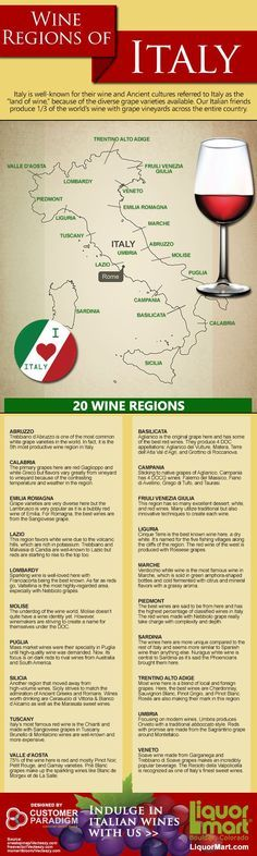Wine Regions of Italy #infographic #wine #italian