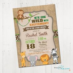 Safari baby shower invitation jungle baby by StyleswithCharm