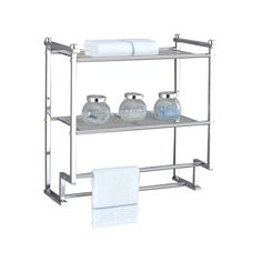 Two-tier wall rack in chrome with two wire metal storage shelves and two towel bars. Product: Wall shelfConstruction Material: Wire metalColor: Chrome Features: Two shelves and two towel bars Dimensions: H x W x D Metal Storage Shelves, Cube Shelves, Display Shelves, Corner Wall Shelves, Wall Mounted Shelves, Shelf Wall, Wall Mount Rack, Wall Racks, Wood Floating Shelves