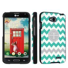 Black-Designer-Case-for-LG-Optimus-L70-Mint-Chevron-Custom-Monogram-Initial