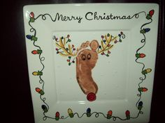 Platterpus Designs: Footprint plates more ideas on this page Reindeer Footprint, Reindeer Handprint, Handprint Christmas Tree, Footprint Art, Christmas Signs, Christmas Projects, Christmas Ideas, Paint Your Own Pottery, Daycare Crafts