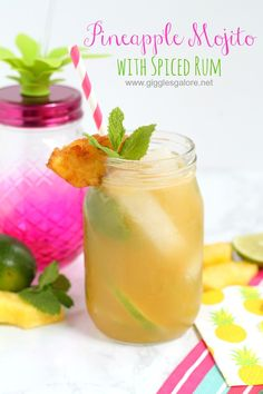 Summer is almost here get ready for pool parties, backyard BBQs and more with this refreshing Pineapple Mojito with Spiced Rum.