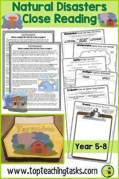 These Natural Disasters activities include differentiated reading comprehension resource includes fourGrade Four (Year Five) and Grade Five (Year Six) non-fiction informational passages with six engaging text dependent higher order thinking tasks - perfect for close reading! Great for test prep, literacy circles, guided reading activities for kids. Learn about earthquakes, volcanoes, tornadoes, hurricanes and tropical cyclones. #naturaldisasters