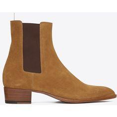 Saint Laurent Classic Wyatt 40 Boot ($925) ❤ liked on Polyvore featuring men's fashion, men's shoes, men's boots, menswear, shoes - boots, yves saint laurent mens shoes and yves saint laurent mens boots
