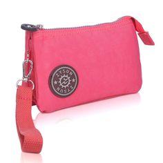 ZYSUN Womens Nylon Small Little Clutch Card Money Handbag Purse Wristlet Bag(605,red) ** To view further, visit now
