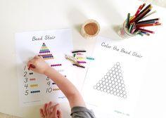 Math in montessori. Free Bead Stair Printables