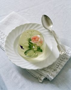 Rosehip & Borrage Flower in Jelly, Gleham Hall, Suffolk, UK, : an exquisitely fantastical panna cotta (or rather rosehip and borrage flower set in jelly), made by art director Rhea Thierstein and Loved by photographer Olena Slyesarenko.